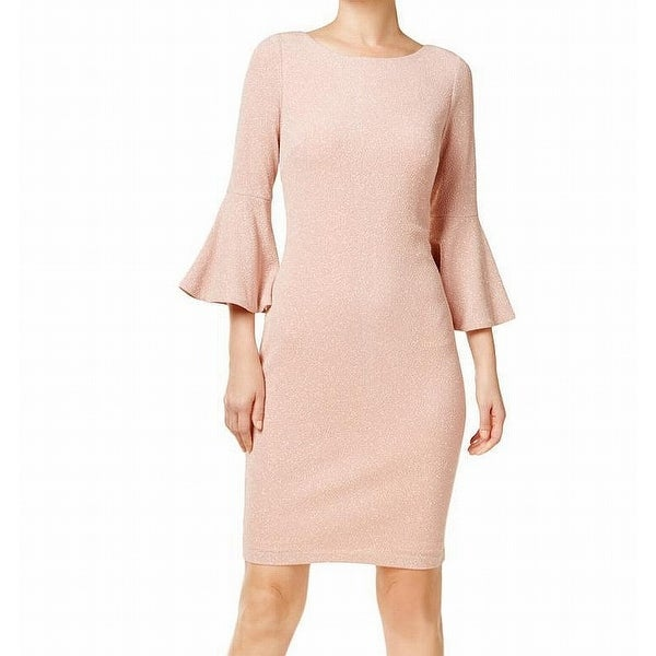 dfafc13e6c3 Shop Calvin Klein Blush Womens Bell-Sleeve Sheath Dress - Free Shipping  Today - Overstock - 27041037