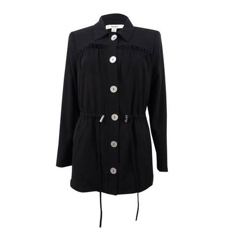 Kensie Women's Ruffled Drawstring Jacket (S, Black) - Black - S