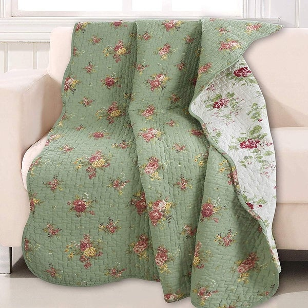 Cozy Line Vintage Floral Quilted Throw Blanket. Opens flyout.