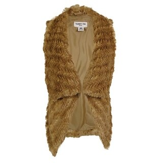 Celebrity Pink Women's Faux Fur Draped Vest - Camel