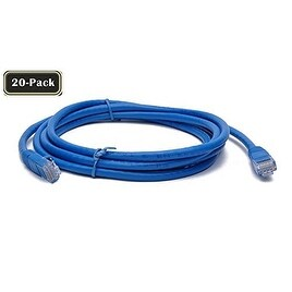 BattleBorn 20-Pack 7 Foot CAT6 Ethernet Network Patch Cable Premium (Blue) BB-C6MB-7BLU Lifetime Warranty