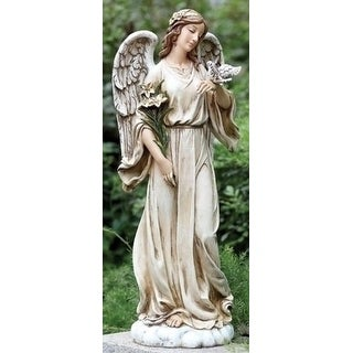 """24.5"""" Joseph's Studio Angel with Dove and Lily Flowers Outdoor Garden Statue - White"""