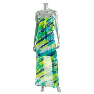 Calvin Klein Womens Chiffon Printed Maxi Dress