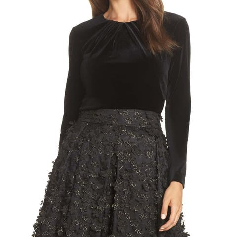 Eliza J Black Womens Size Small S Velvet Jewel Neck Stretch Top