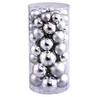 Christmas at Winterland WL-ORNTUBE-70-SLV 2.5-Inch Plastic Shatterproof Silver Ball Ornaments (Package of 100) - N/A