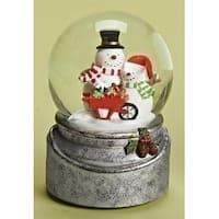 "6"" Winter Wonderland Snowmen with Present Wheelbarrow Musical Glass Christmas Glitterdome"