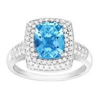 2 1/5 ct Natural Swiss Blue Topaz & 1/3 ct Diamond Ring in Sterling Silver