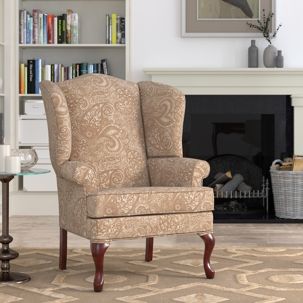 Elaina Cream Paisley Print Wingback Accent Chair by Greyson Living - See Product Description. Opens flyout.