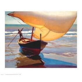 ''Fishing Boat, Spain'' by Arthur Rider Coastal Art Print (27 x 32 in.)