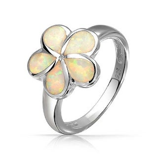 Bling Jewelry Synthetic White Opal Hawaiian Flower Ring 925 Silver
