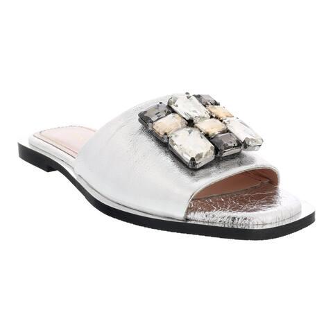 Ventutto Silver Crystal Embellished Leather Slide-