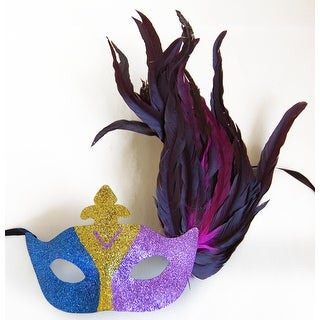 Glitter Eye Venetian, Masquerade, Mardi Gras Mask W/Feathers Style F - Blue