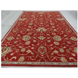 Super Soft 9.6x13.6 Feet Red Green Blue Brown Huge Over sized Persian Traditional Transitional Floral Wool Rug Hand-Tufted