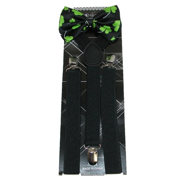 CTM® Men's St Patricks Day Bow Tie with Solid Suspender Set - One size