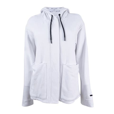 DKNY Sport Women's Cotton Hooded Fleece Jacket (XS, White) - White - XS