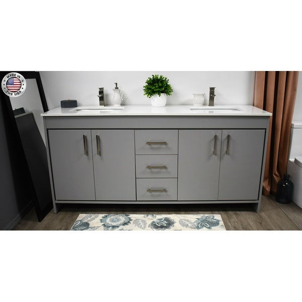 Volpa Usa Capri 72 Inch Double Sink Bathroom Vanity Microstone Top Overstock 32985863