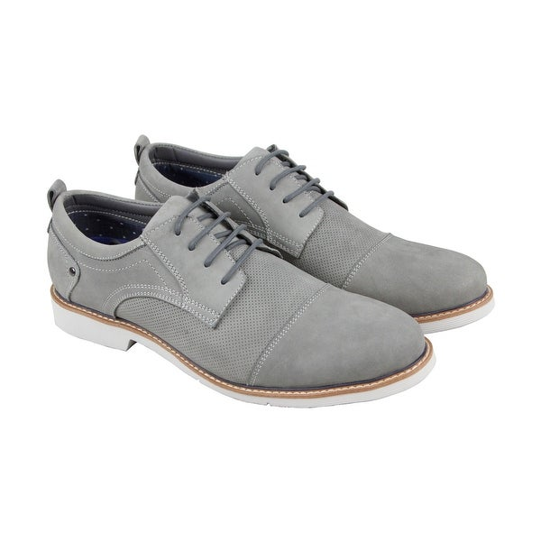 f96313821ff Steve Madden Rallie Mens Gray Leather Casual Dress Lace Up Oxfords Shoes