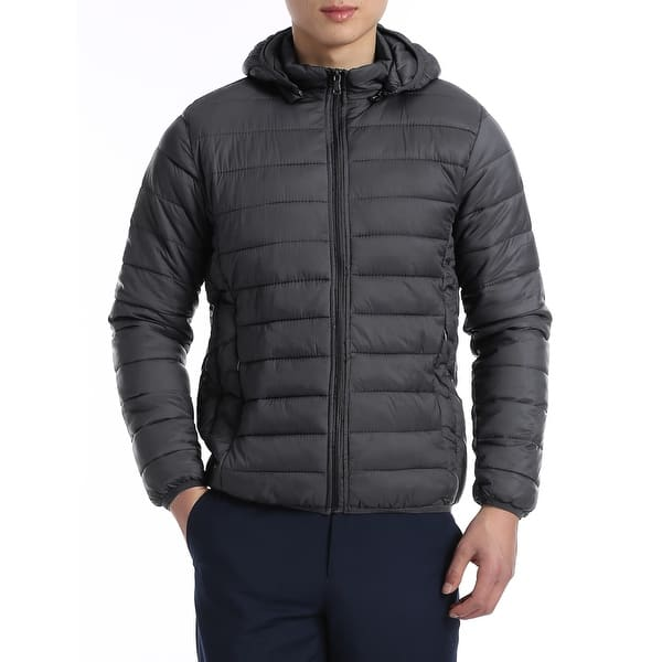 Mens Hooded Packable Down Jacket Lightweight Quilted Puffer Insulated Winter Coat Outerwear