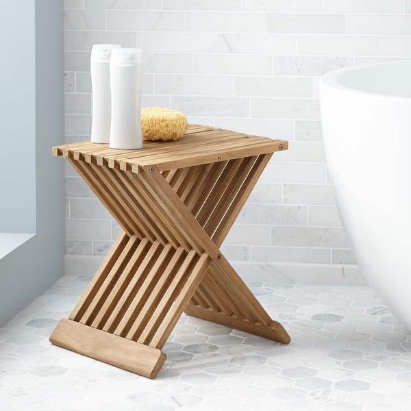 Super Shop Signature Hardware 282548 Folding Teak Bath Stool Inzonedesignstudio Interior Chair Design Inzonedesignstudiocom