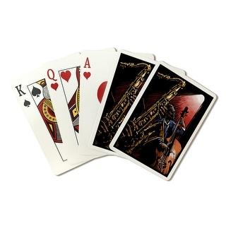 Jazz Band - Scratchboard - Lantern Press Artwork (Playing Card Deck - 52 Card Poker Size with Jokers)