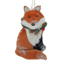 Brown and White Stuffed Fox Christmas Ornament