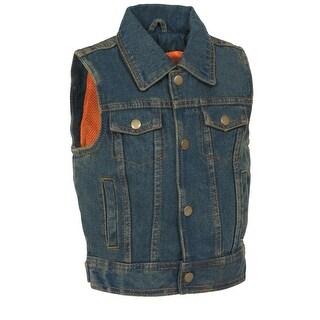 Kids Denim Shirt Collar Snap Front Vest
