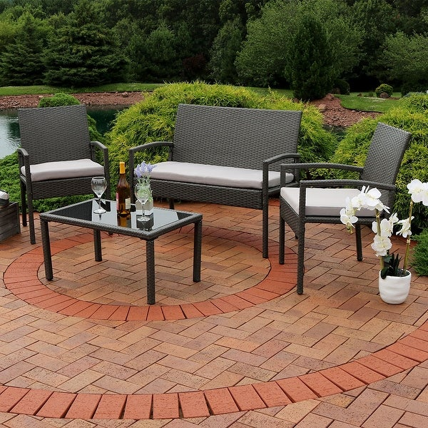 Sunnydaze Pompeii 4-Piece Wicker Rattan Patio Furniture Set with Grey Cushions