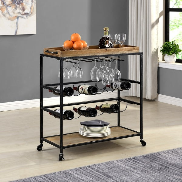 FirsTime & Co.® Concord Farmhouse Removable Tray Bar Cart, Metal, 32.5 x 13 x 30 in, American Designed - 32.5 x 13 x 30 in. Opens flyout.
