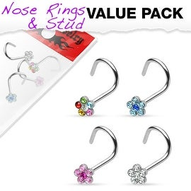 4 Pcs Value Pack of Assorted 316L Surgical Steel 6-Gem Flower Nose Screw