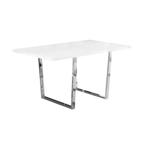 "Offex Dining Table - 36"" x 60"" White Glossy/Chrome Metal - Not Available"