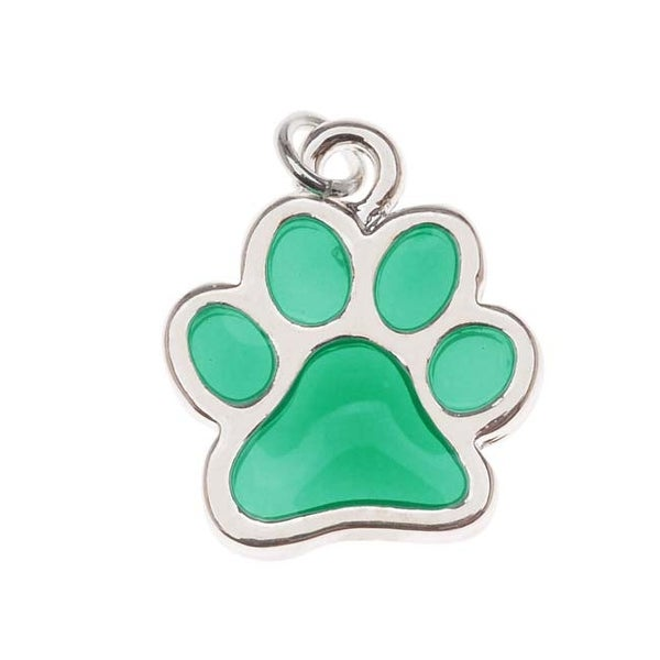 Silver Plated Translucent Teal Green Enamel Paw Print Charm 16mm (1)