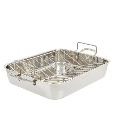 """Wolfgang Puck Stainless Steel 16"""" Roaster With V Rack Model 679-969 Refurbished"""