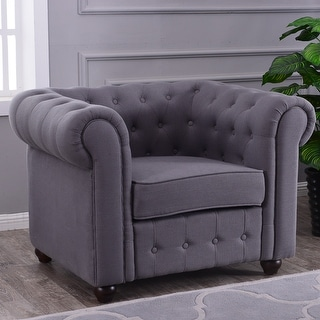 Belleze Classic Tufted Linen Accent Chair Armchair Club Chair, (Charcoal)