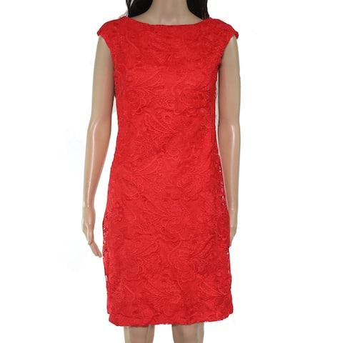 Lauren by Ralph Lauren Womens Dress Red Size 0 Sheath Floral Lace