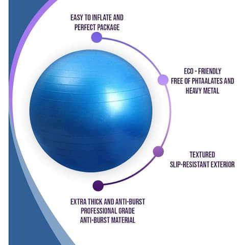 Premium Exercise Ball 65 cm Extra Thick Yoga & Fitness Accessories