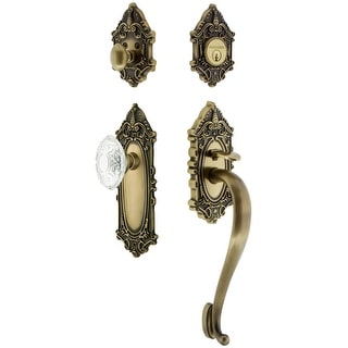 Nostalgic Warehouse VICCVI_ESET_234_SG  Vintage Crystal Sectional Keyed Entry Handleset with Crystal Victorian Interior Knob, S