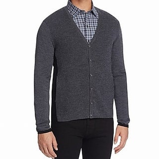 Zachary Prell NEW Gray Mens Large L Colorblock Cardigan Wool Sweater