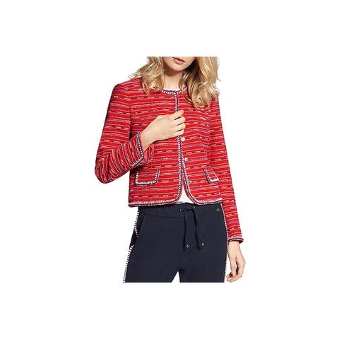 Basler Womens Cropped Jacket Short Metallic - Red