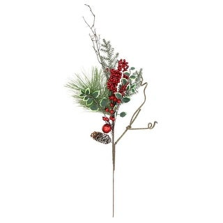 """32"""" Frosted Bells, Berries and Pine Cones Artificial Christmas Spray Decoration"""