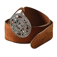 "Women's Filigree Buckle Leather Belt - Brown - 2"" Wide - S/M"