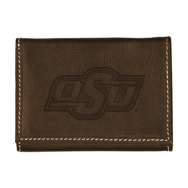 Oklahoma State University Contrast Stitch Trifold Leather Wallet