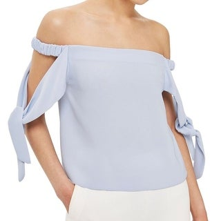 TopShop Blue Womens Size 6 Off-Shoulder Tie-Sleeve Solid Blouse