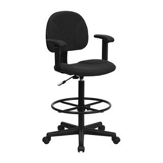 Offex Black Patterned Fabric Ergonomic Drafting Chair with Adjustable Arms [OF-BT-659-BLK-ARMS-GG]