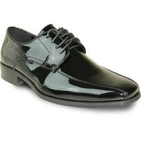 VANGELO Men Dress Shoe TUX-5 Oxford Formal Tuxedo for Prom & Wedding Shoe Black Patent -Wide Width Available
