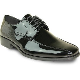 VANGELO Men Dress Shoe TUX-5 Oxford Formal Tuxedo for Prom & Wedding Shoe Black Patent -Wide Width Available (Option: 20)