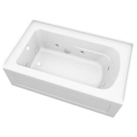 PROFLO PFW6036ALSKN Hillsboro Three Wall Alcove Acrylic Whirlpool Tub - White