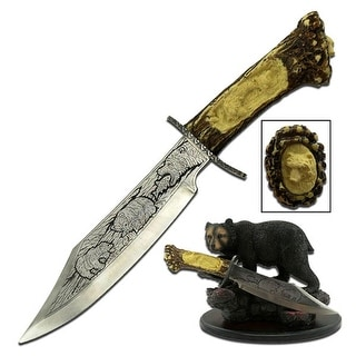 "Collectible Knife 5"" Blade W/Bear Resin Stand - WC-31B"