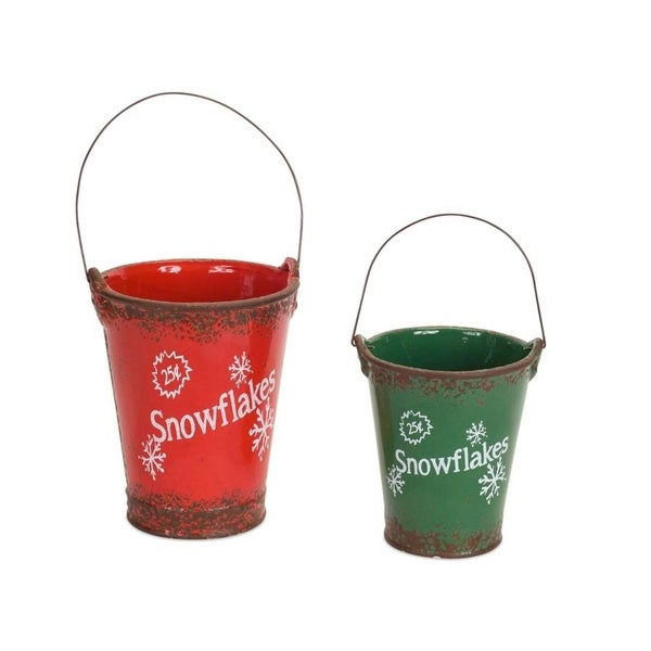 Set of 2 Green and Red Vintage Style Distressed 25¢ Snowflakes Christmas Bucket 13.75""