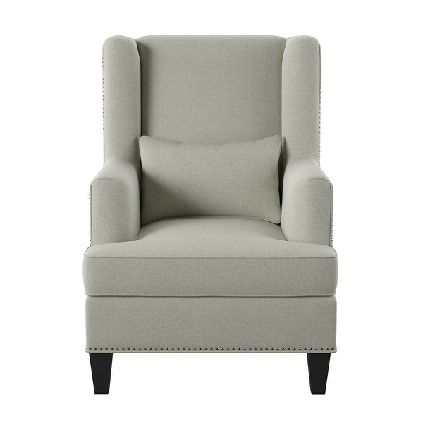 Emerald Home Isabella Natural and Slate Blue Accent Chair. Opens flyout.