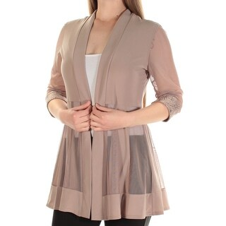 Womens Brown 3/4 Sleeve Open Cardigan Casual Top Size M